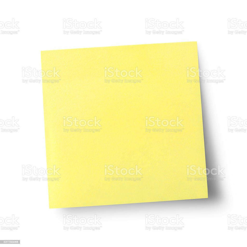 Sticky note isolated on white background with clipping path stock photo