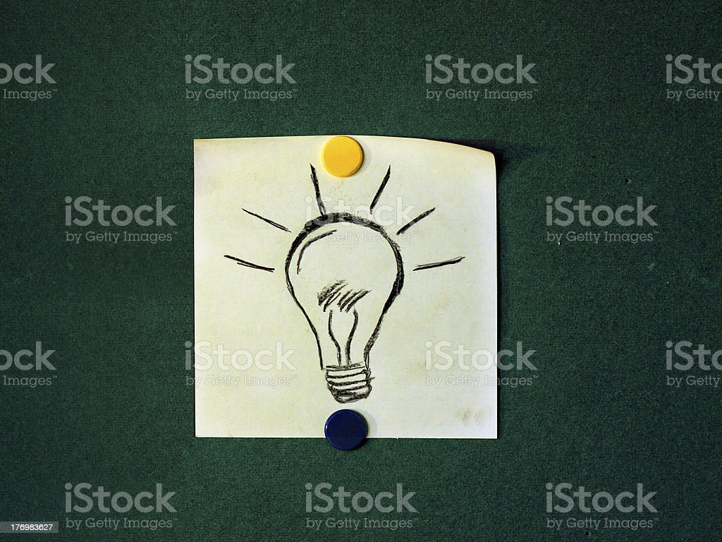 Sticky note of a hand drawn lightbulb stock photo