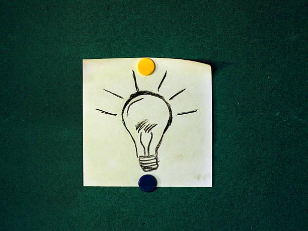 Sticky note of a hand drawn lightbulb stock photo