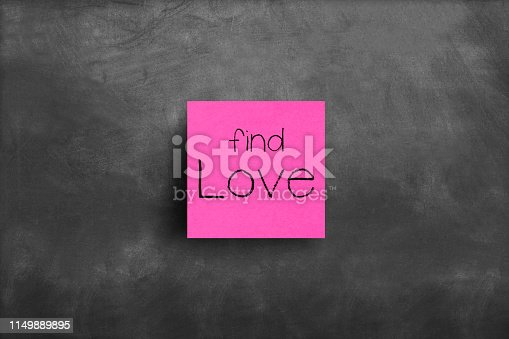 Sticky note on blackboard, Find love