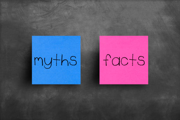 Sticky note on blackboard, Myths Facts Sticky note on blackboard, Myths Facts information equipment stock pictures, royalty-free photos & images