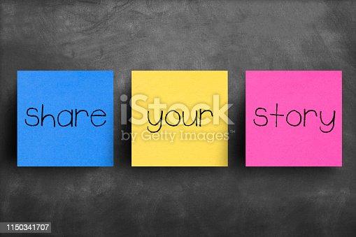 Sticky note on blackboard, Share your story