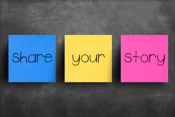 sticky note on blackboard, share your story - fairy tale stock pictures, royalty-free photos & images