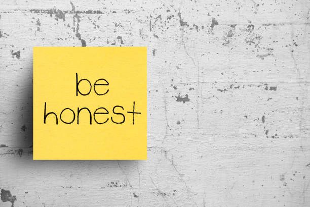 sticky note on concrete wall, be honest - transparent stock pictures, royalty-free photos & images