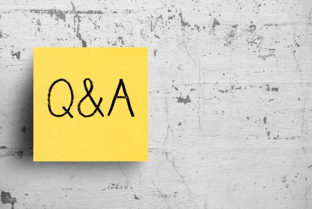 Sticky note on concrete wall, Questions, Answers Sticky note on concrete wall, Questions, Answers faq stock pictures, royalty-free photos & images