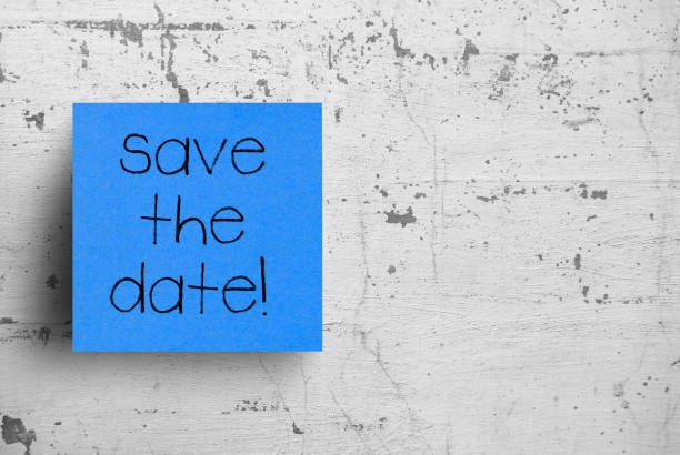 Sticky note on concrete wall, Save the date Sticky note on concrete wall, Save the date calendar date stock pictures, royalty-free photos & images