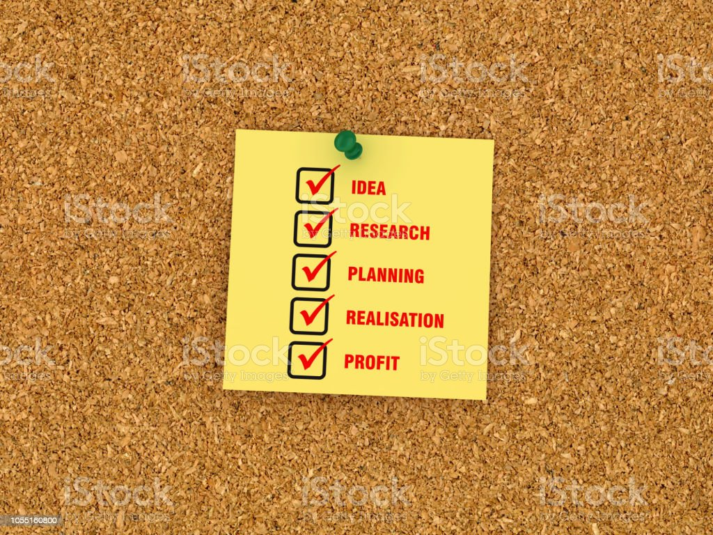 Sticky Note on Corkboard with Business Concept Check list - 3D...