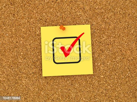 1090161334 istock photo Sticky Note on Corkboard with Check Box - 3D Rendering 1048178994