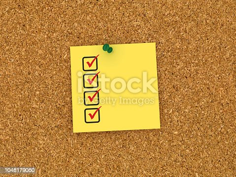 1090161334 istock photo Sticky Note on Corkboard with Check List - 3D Rendering 1048179050