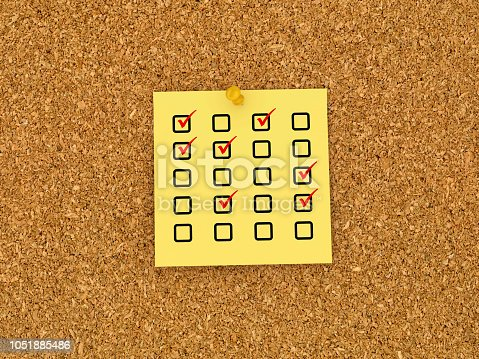1090161334 istock photo Sticky Note on Corkboard with Check list - 3D Rendering 1051885486