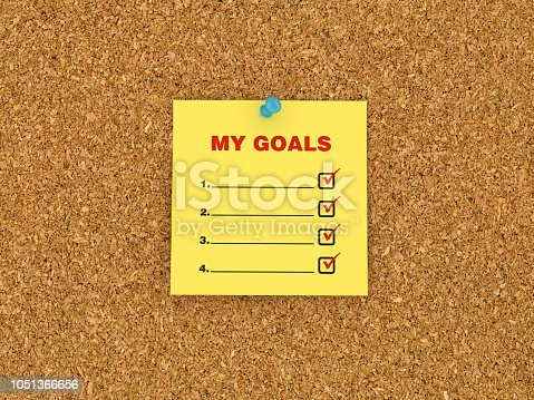 1090161334 istock photo Sticky Note on Corkboard with Goals Check List - 3D Rendering 1051366656