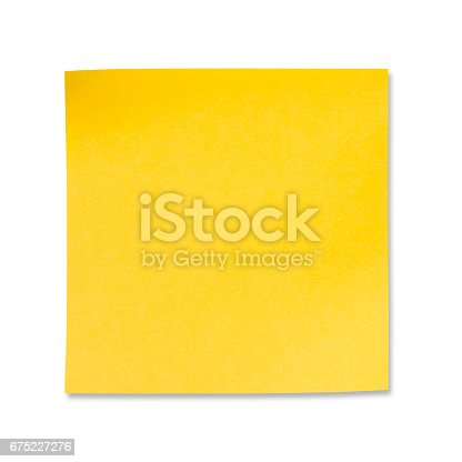 istock Sticky Note(post it) on White Background - Clipping Path 675227276