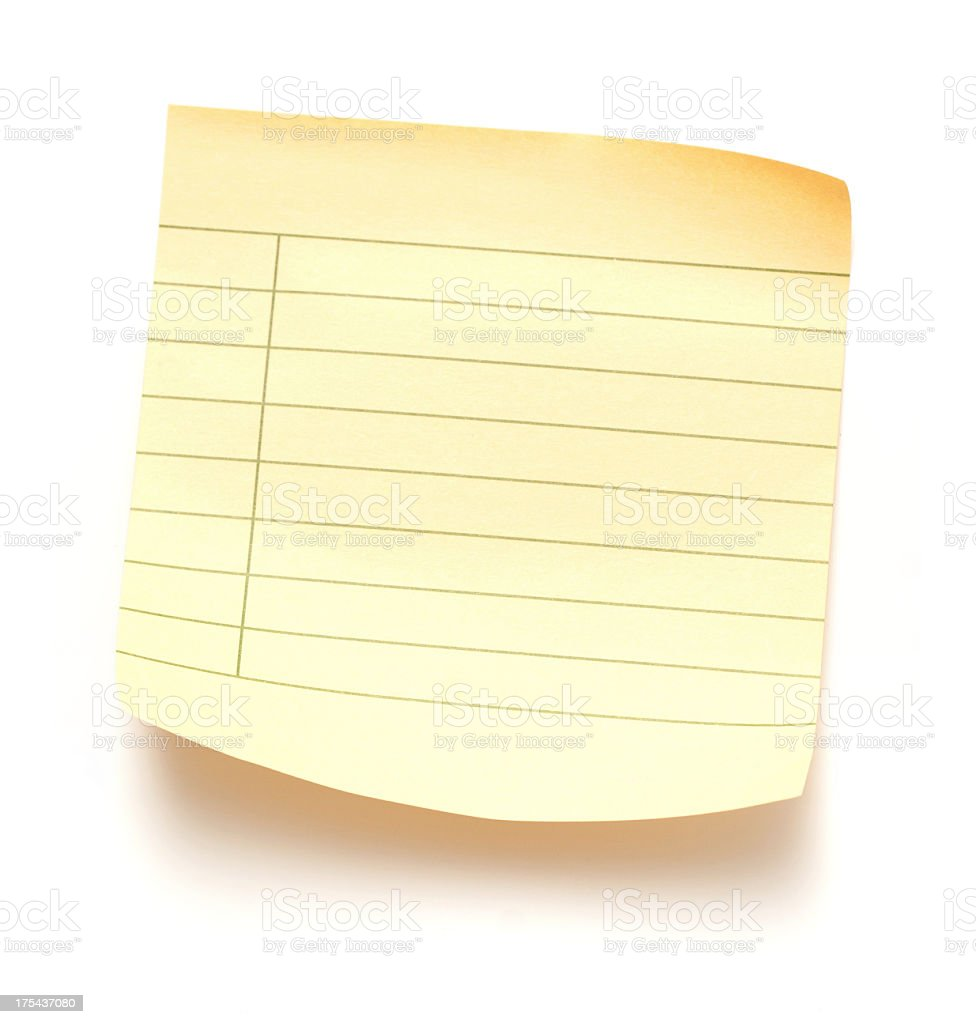 Sticky note paper isolated on white background royalty-free stock photo