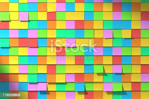 Wall full of multi colored sticky notes