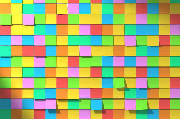sticky note wall - post it foto e immagini stock