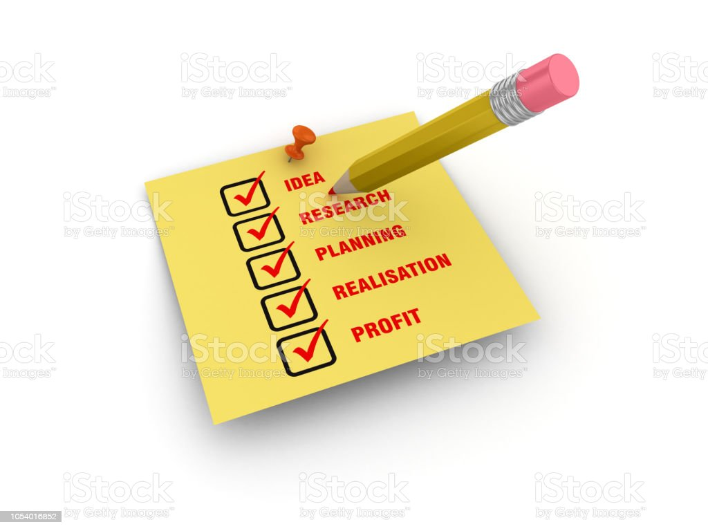 Sticky Note with Business Concept Check List and Pencil - White...