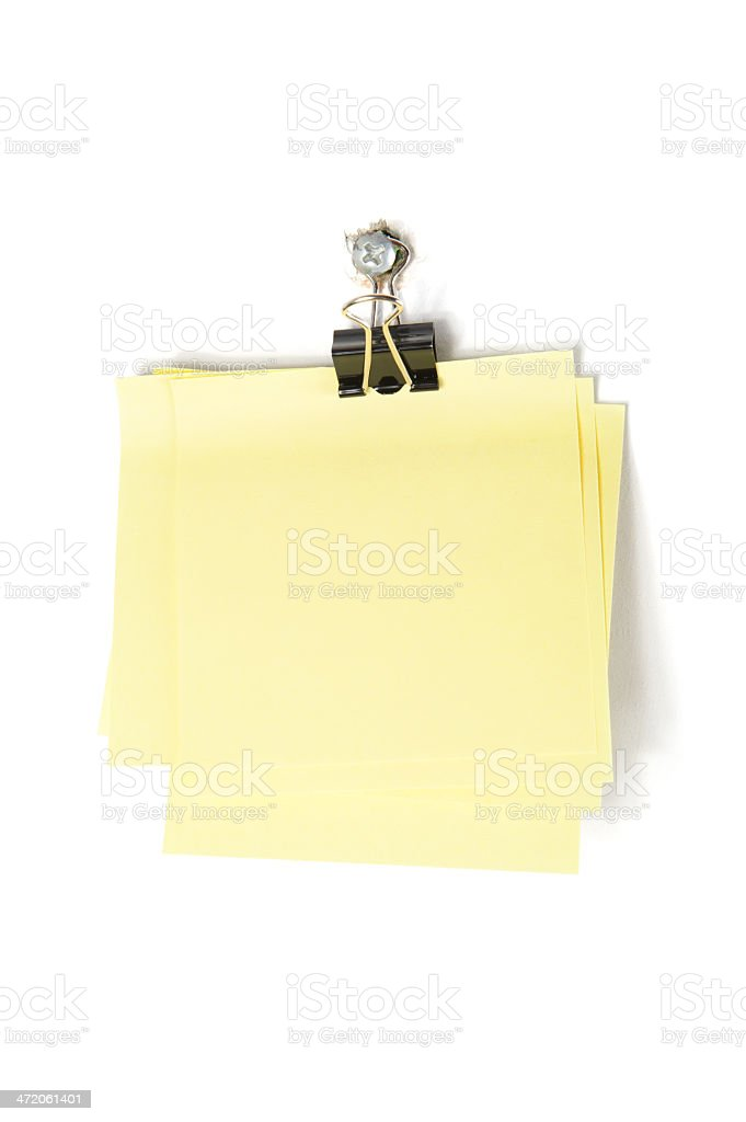 Sticky Note with Paper Clip stock photo