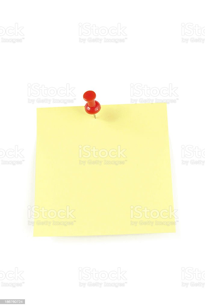 Sticky Note with Red Push Pin stock photo