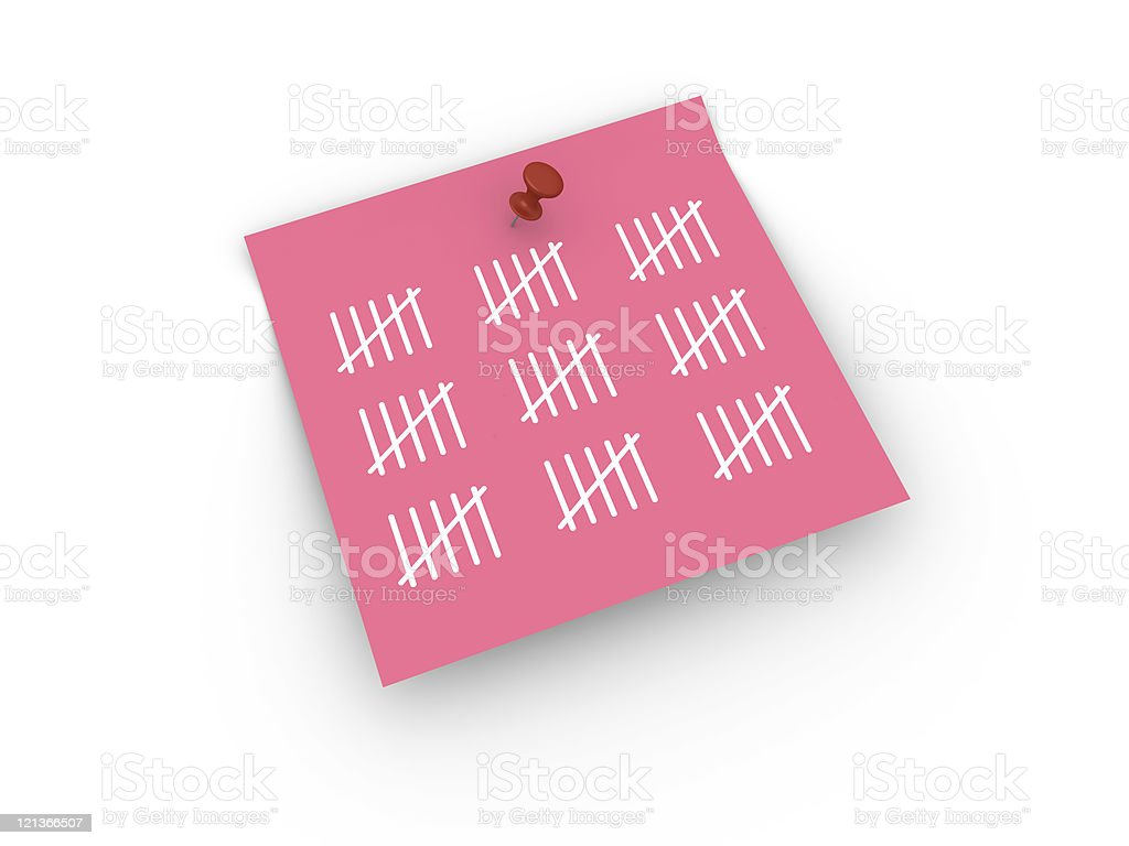 Sticky Note with Tally Chart stock photo