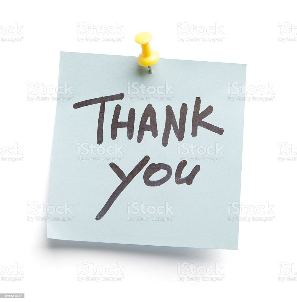 Sticky note with text Thank you on it royalty-free stock photo