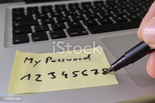 Easy concept password. My password written on a paper sticker with a marking pen.