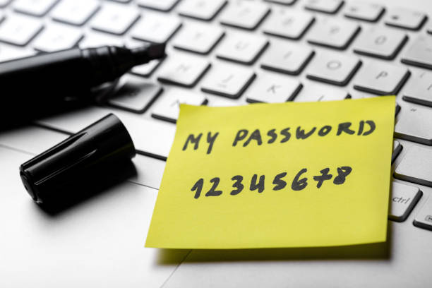 sticky note with weak easy password on laptop keyboard stock photo