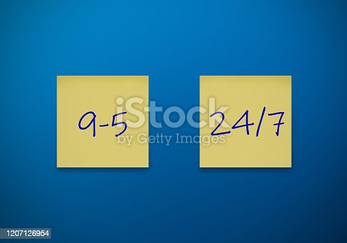 Sticky note working 9-5 or 24/7