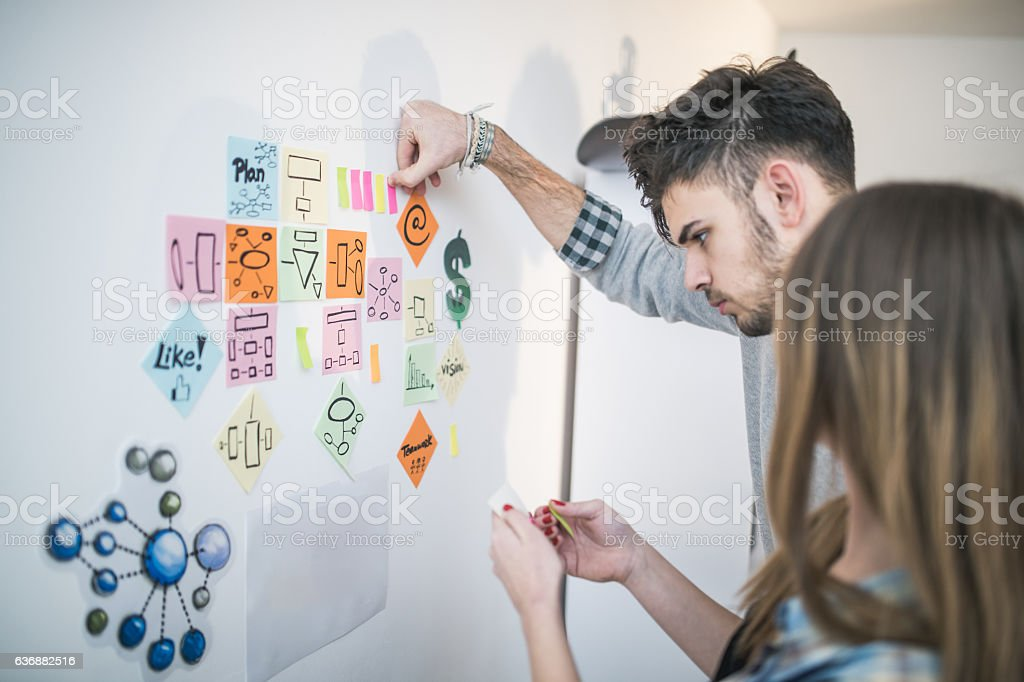 Sticky notes business strategy stock photo