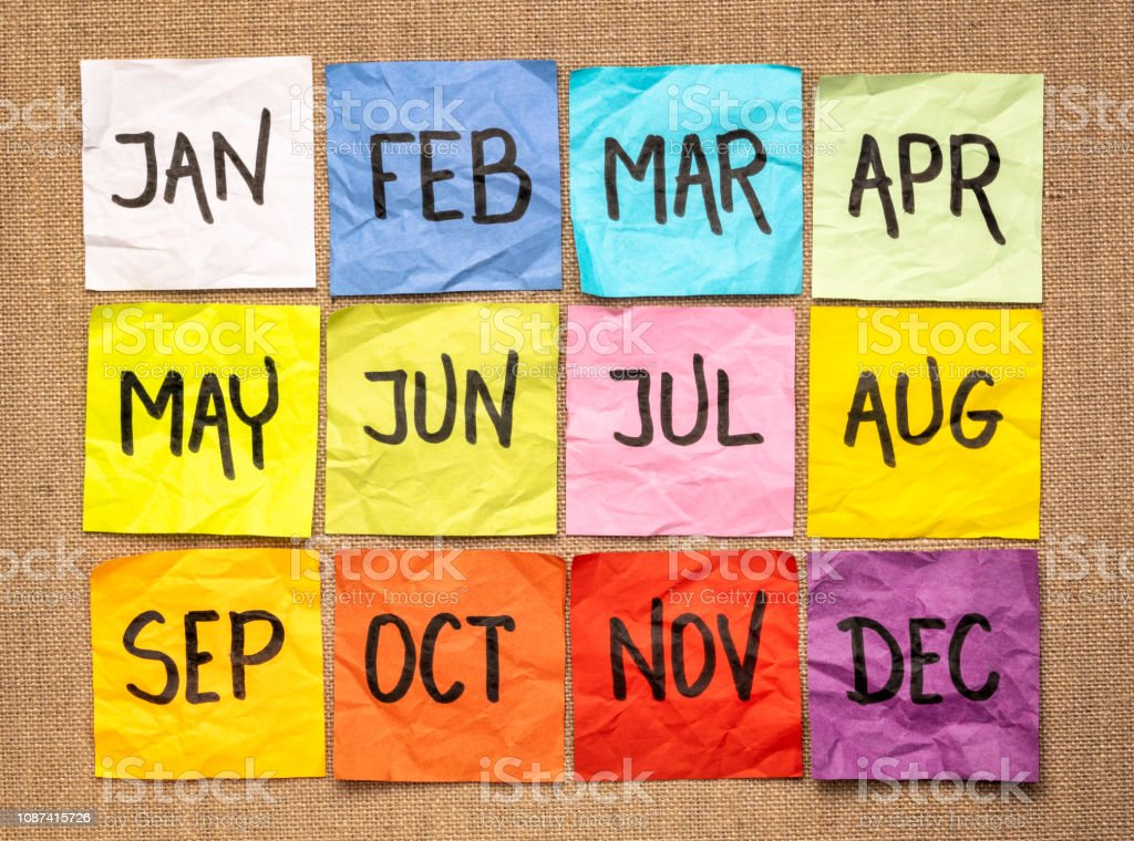 sticky notes calendar stock photo
