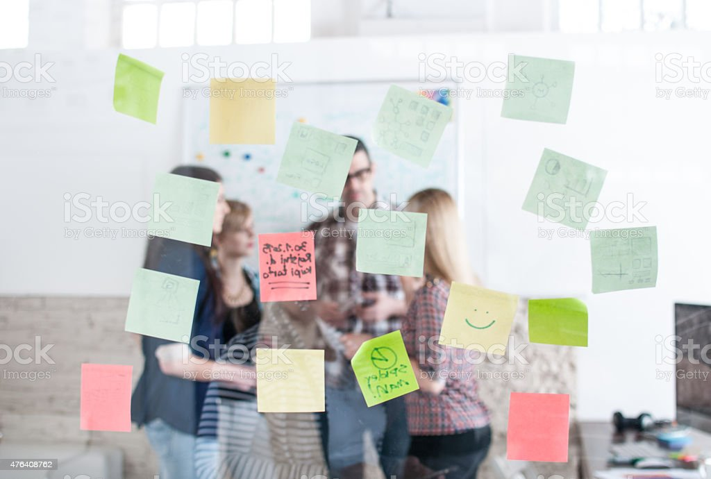 Sticky notes in the office stock photo