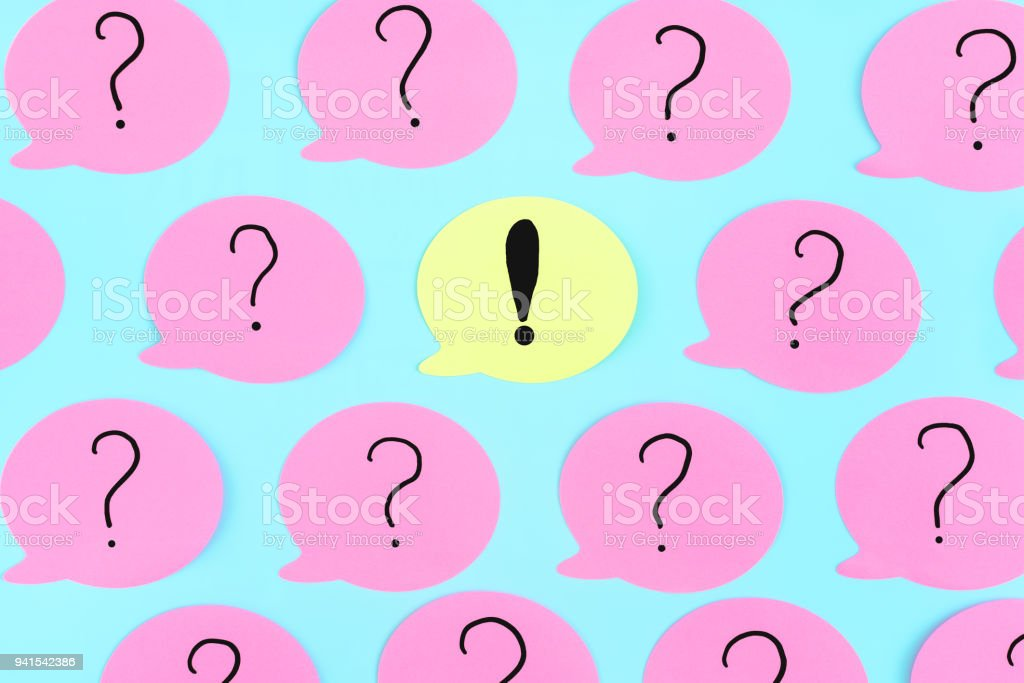 Sticky Notes On A Blue Background Pink Stickers With Question Marks