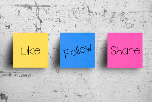 Sticky notes on concrete wall, Like Follow Share Sticky notes on concrete wall, Like Follow Share social networking stock pictures, royalty-free photos & images