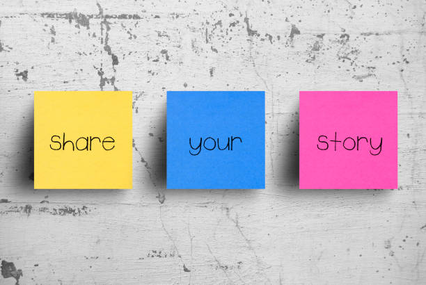 Sticky notes on concrete wall, Share your story Sticky notes on concrete wall, Share your story storytelling stock pictures, royalty-free photos & images