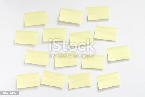 Blank sticky notes on white wall.Similar images -