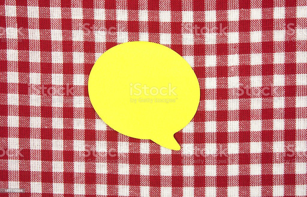 Sticky on red tablecloth royalty-free stock photo