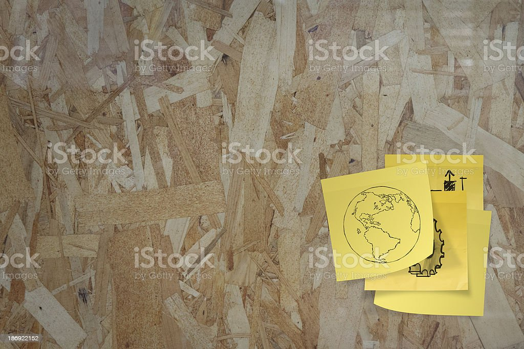 sticky paper note on recycled compressed wood chippings board royalty-free stock photo
