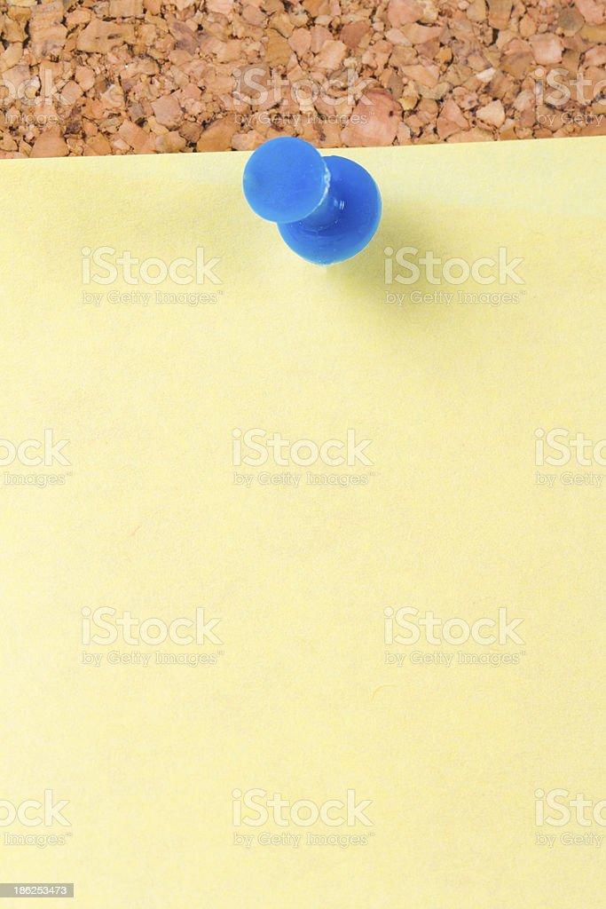 Sticky Post on Cork Board stock photo