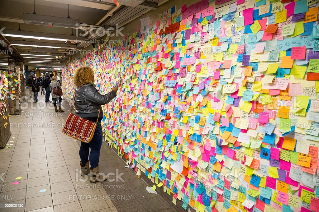 Sticky post-it notes in NYC subway station stock photo