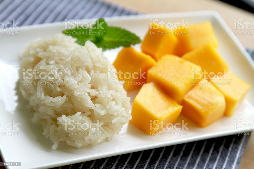 Sticky rice and Mango, Thai dessert stock photo