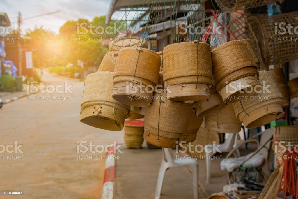 Sticky rice box or Wicker on rice or Kratip rice. stock photo