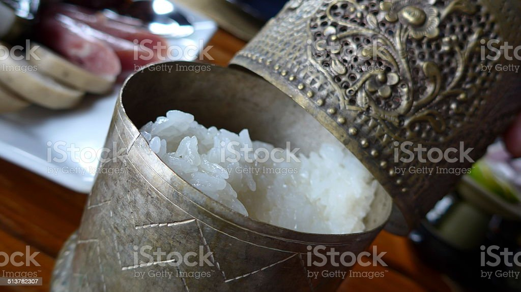 sticky rice container stock photo
