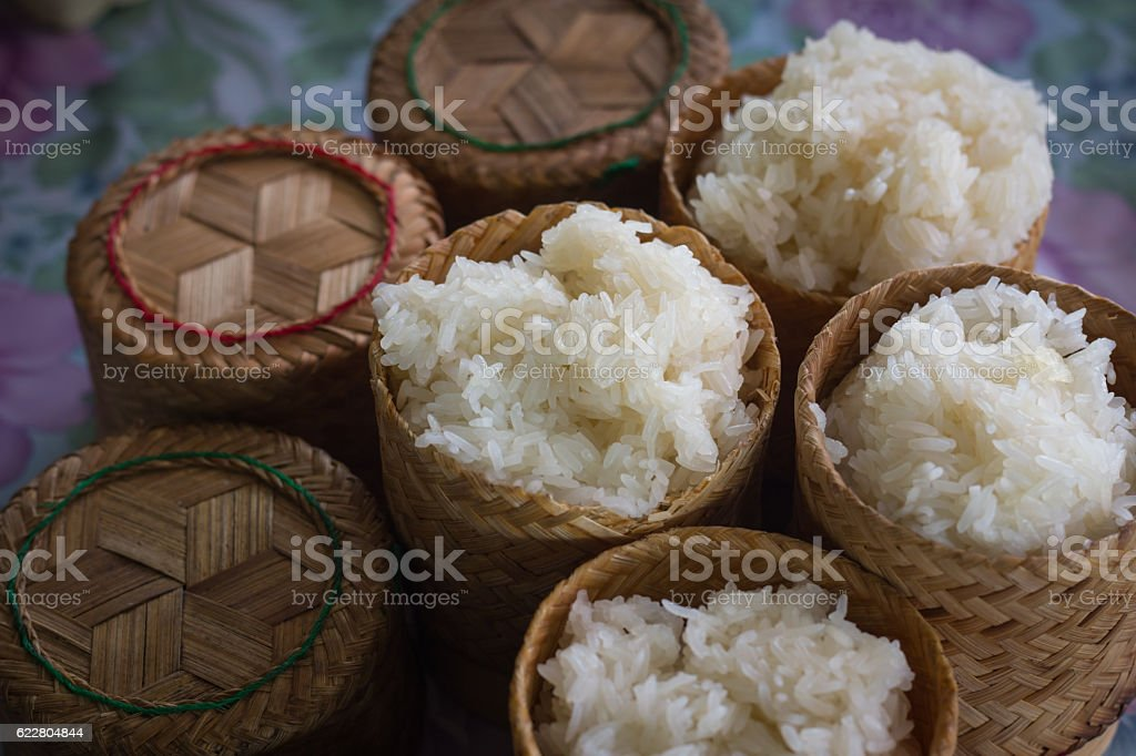 sticky rice in bamboo box Thai style stock photo