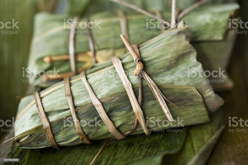 Sticky Rice in Bamboo Leaves stock photo