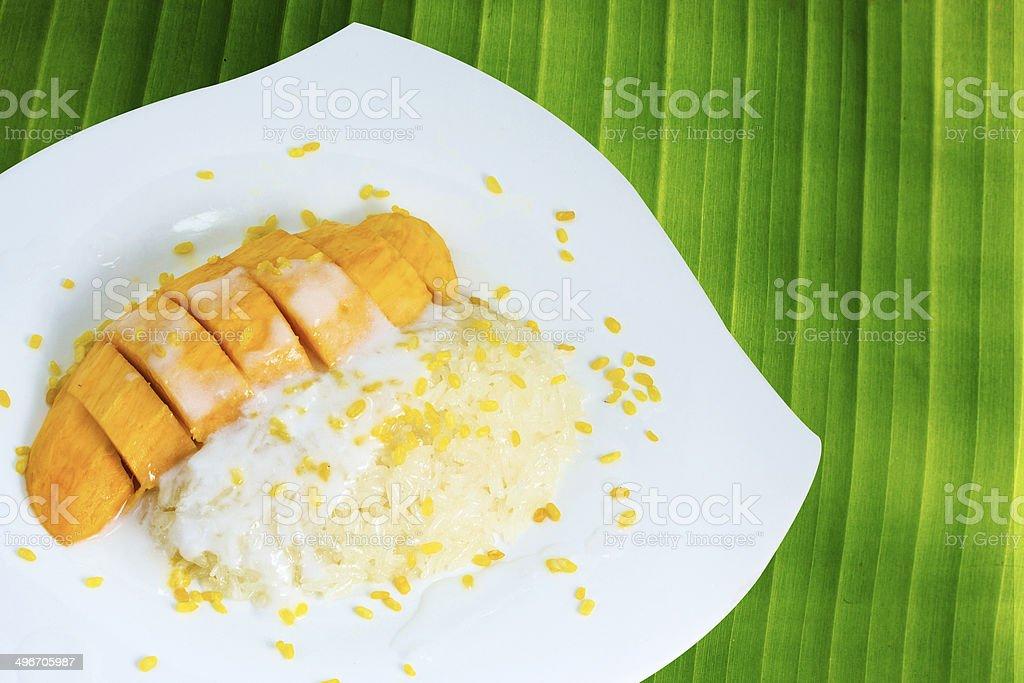 Sticky Rice Mango Thai Dessert stock photo