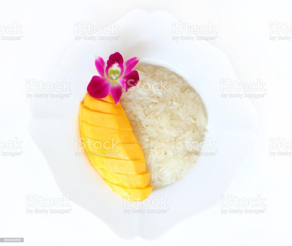 Sticky rice mango Thai dessert. stock photo