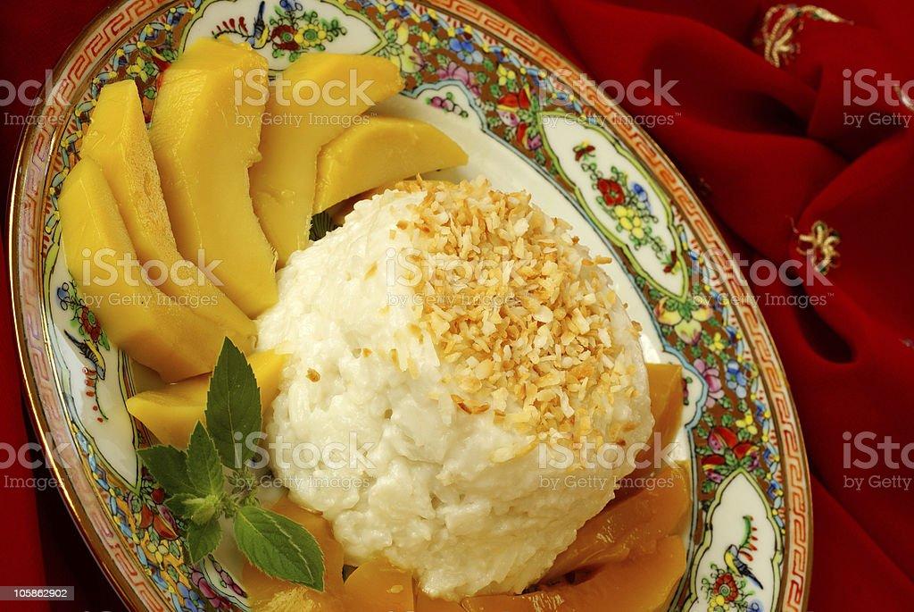 Sticky rice with mango royalty-free stock photo