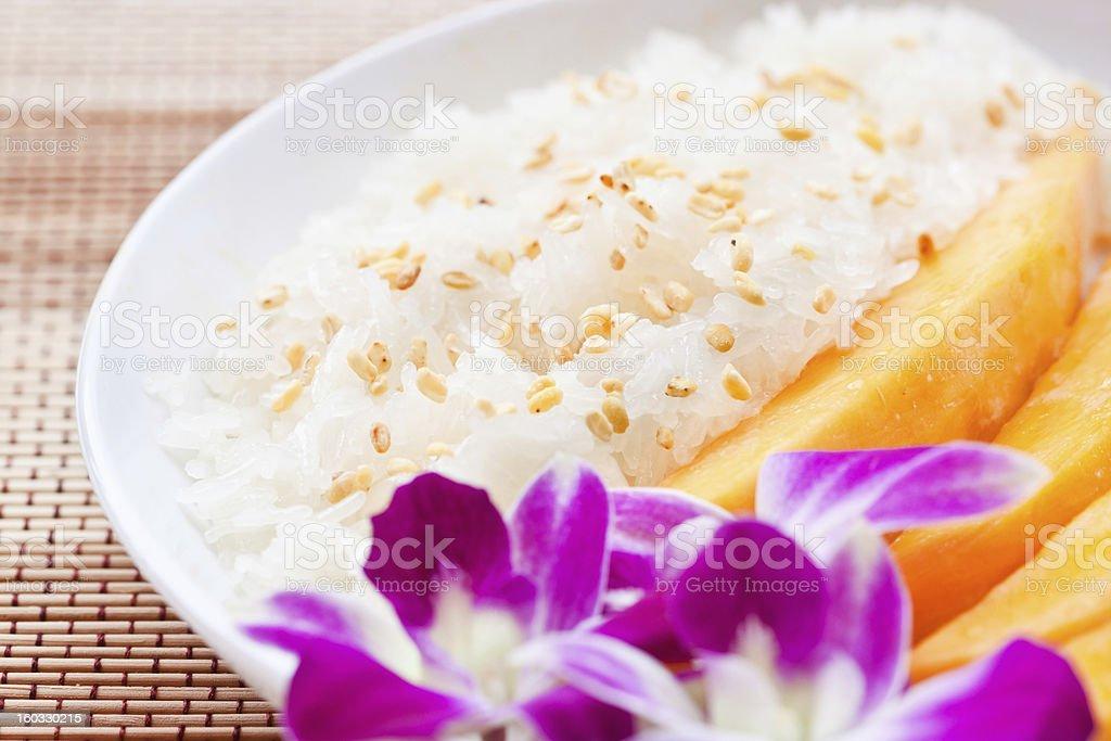Sticky Rice with mango Thai Food stock photo