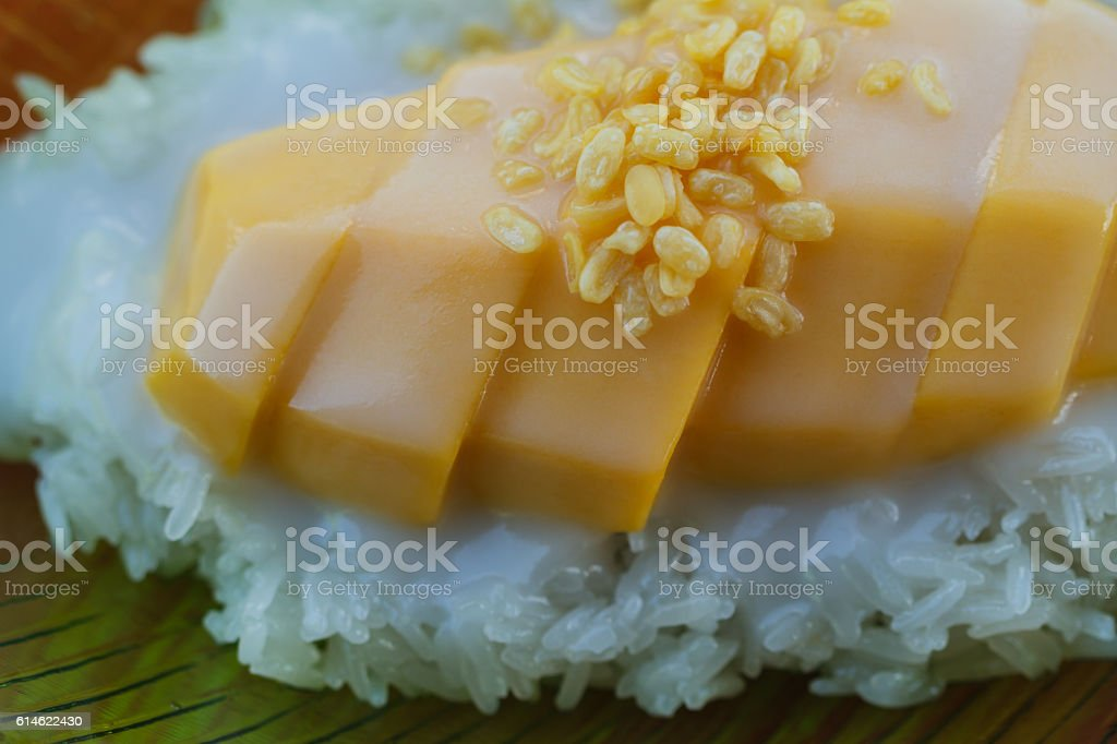 Sticky rice with mangoes. stock photo