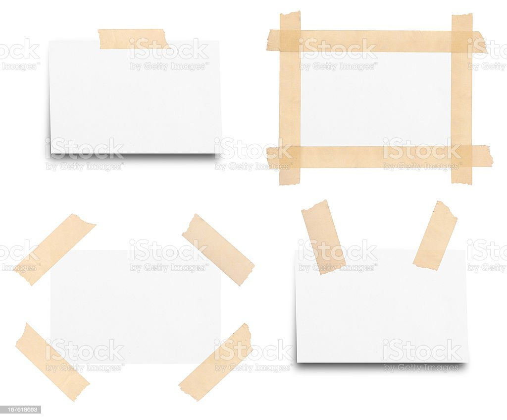 Sticky tape on note paper isolated royalty-free stock photo