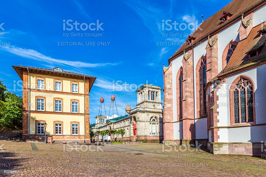 Stiftskirche Church Baden-Baden Germany and view to historic mus stock photo